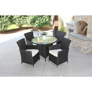 5 Piece Black Wicker Outdoor Dining Set With Round Recessed Glass Table