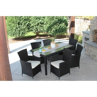 7 Piece Black Wicker Outdoor Dining Set With Rectangular Recessed Glass Table