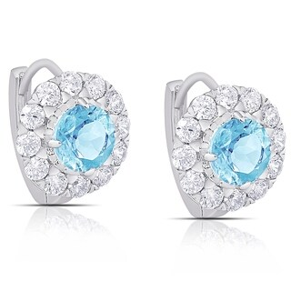 Dolce Giavonna Sterling Silver Gemstone and Cubic Zirconia Flower Hoop Earrings