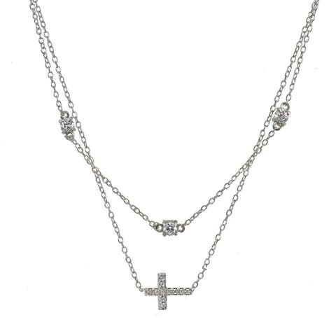 ICZ Stonez Cubic Zirconia Sideways Cross Layered Choker Necklace in Sterling Silver