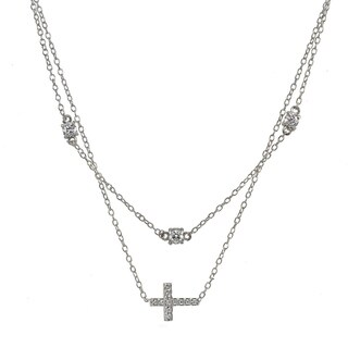 ICZ Stonez Cubic Zirconia Sideways Cross Layered Choker Necklace in Sterling Silver (3 options available)