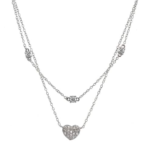 ICZ Stonez Cubic Zirconia Heart Layered Choker Necklace in Sterling Silver