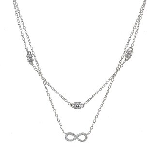 ICZ Stonez Cubic Zirconia Infinity Layered Choker Necklace in Sterling Silver
