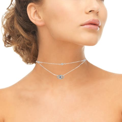 ICZ Stonez Blue Cubic Zirconia Evil Eye Layered Choker Necklace in Sterling Silver