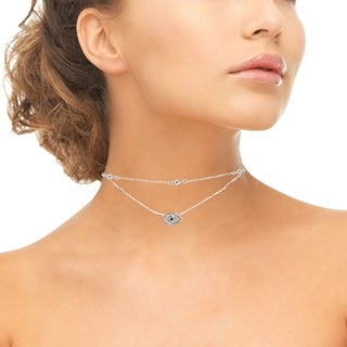 ICZ Stonez Blue Cubic Zirconia Evil Eye Layered Choker Necklace in Sterling Silver (3 options available)
