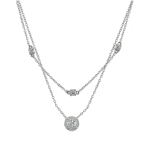 ICZ Stonez Cubic Zirconia Round Halo Layered Choker Necklace in Sterling Silver