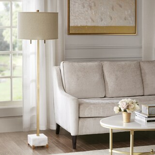 Madison Park Signature Leyton White/ Gold 59.25-inch Floor Lamp with Natural Drum Shaped Shade