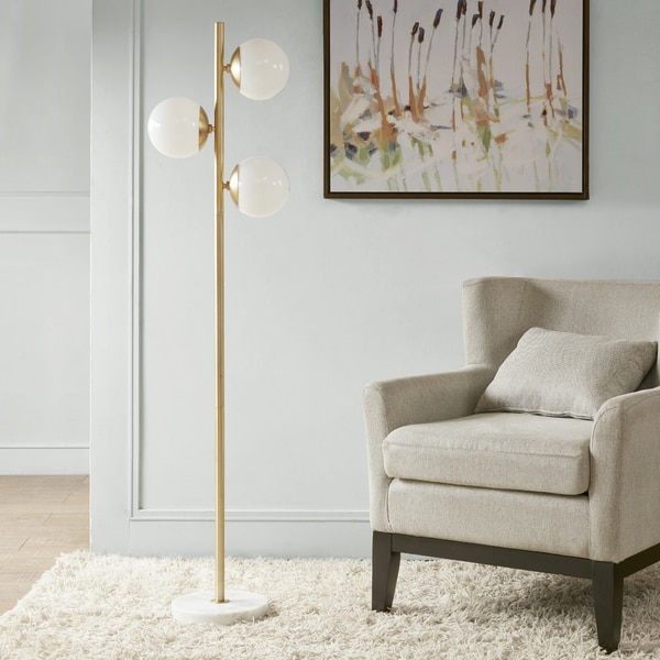 Park Madison Lighting Floor Lamp: Madison Park Signature Holloway White/ Gold 62-inch Floor