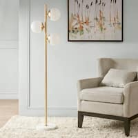 Madison Park Signature Holloway White/ Gold 62-inch Floor Lamp with Round Shade