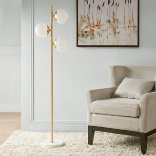 "Madison Park Signature Holloway White/ Gold 62-inch Floor Lamp with Round Shade - 15.25""w x 10""d x 62"" h"