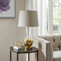 Madison Park Signature Kensal Clear/ Gold Table Lamp with Natural Bell Shade
