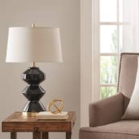 Madison Park Westbourne Black Table Lamp with Natural Drum Shade