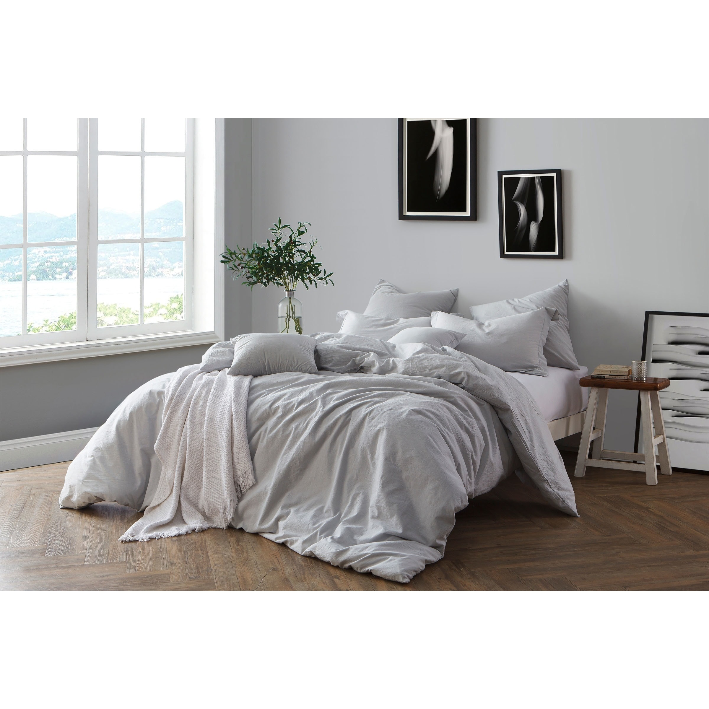 Luxury Cotton Rich Soft Chambray Yarn Dyed Woven Stripe Striped Duvet Cover Set