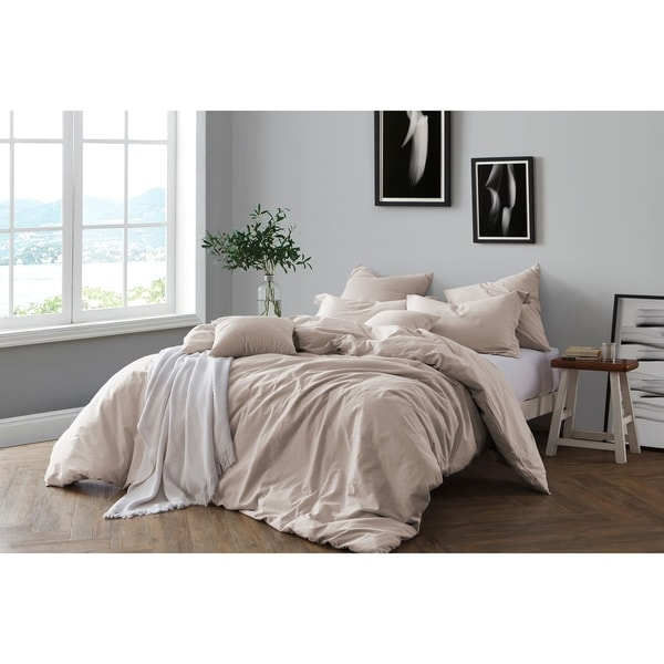 All Natural Prewashed Yarn Dye Cotton Chambray Duvet Cover Set - Luxurous Soft, Wrinkled Look, Eco-Friendly Package