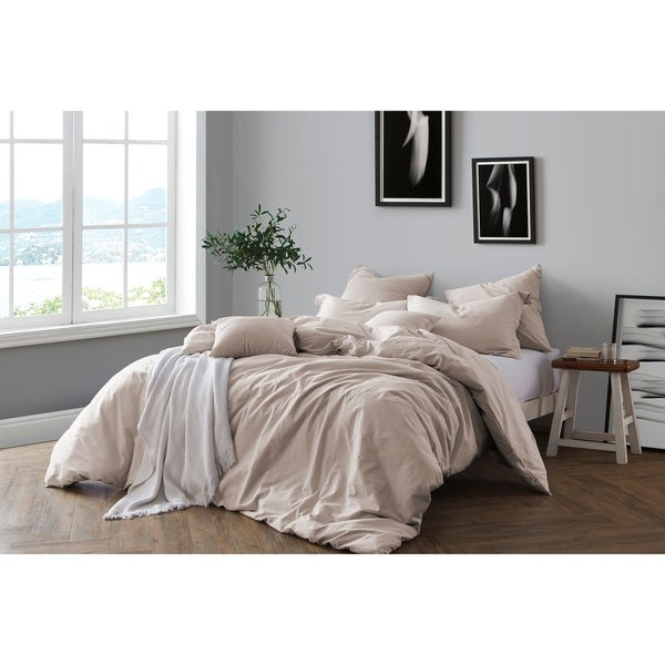 ae73cb8491 All Natural Prewashed Yarn Dye Cotton Chambray Duvet Cover Set - Luxurous  Soft, Wrinkled Look