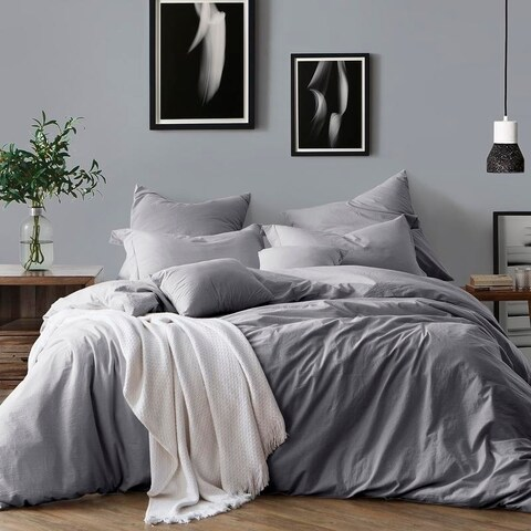 All Natural Prewashed Yarn Dye 100% Cotton Premium Wrinkled Look Chambray Duvet Cover Set