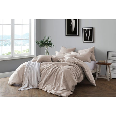 All Natural Prewashed Yarn Dye Cotton Chambray Duvet Cover Set - Luxurous Soft, Wrinkled Look, Eco-Friendly Package (As Is Item)