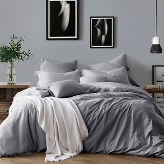 All Natural Prewashed Yarn Dye Cotton Chambray Duvet Cover Set Luxurous Soft Wrinkled Look
