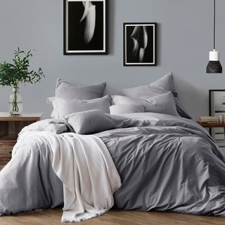 Captivating All Natural Prewashed Yarn Dye 100% Cotton Premium Wrinkled Look Chambray Duvet  Cover Set