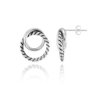 Mondevio Oxidized and Polished Rope Intertwining Circle Fashion Drop Earrings in Sterling Silver