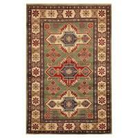 Handmade Herat Oriental Afghan Hand-knotted Tribal Kazak Wool Area Rug - 3'10 x 6'2