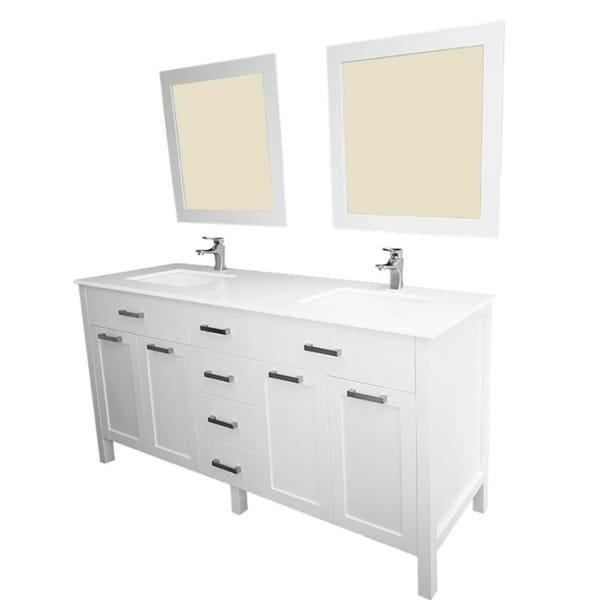 Vittoria White Ceramic/Wood 72-inch Double-sink Vanity