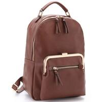 Dasein Faux Leather Front Twist Lock Pocket Fashion Backpack