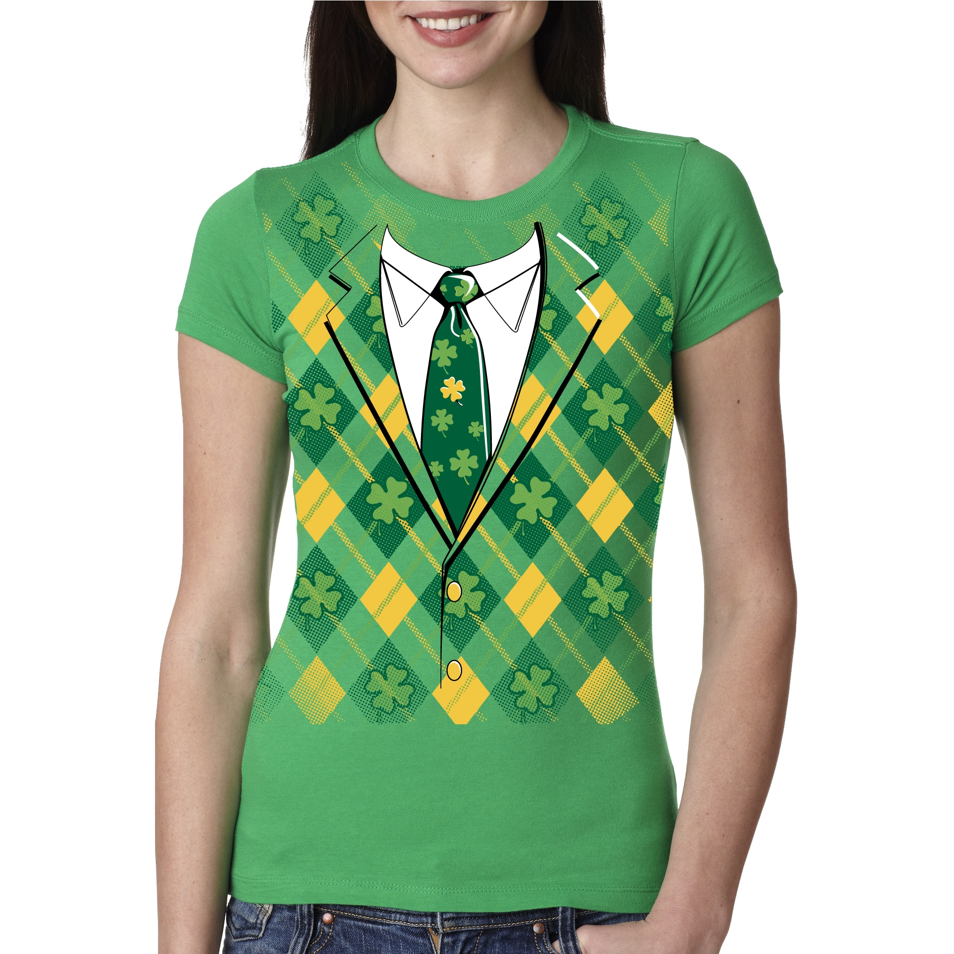 Crazy Dog Women's Plaid Green Tuxedo T Shirt Funny Saint ...