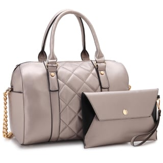 Dasein Faux Leather Quilted Satchel Handbag with Matching Wristlet
