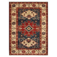 Handmade Herat Oriental Afghan Hand-knotted Tribal Kazak Wool Area Rug (Afghanistan) - 4'2 x 5'8