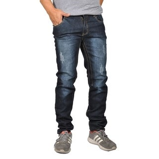 OTB Men's Fashion Dark Wash distressed Denim Jeans