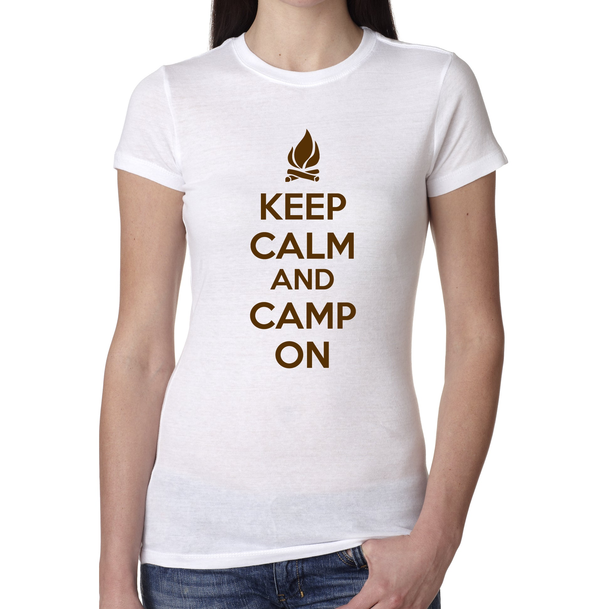 Crazy Dog Women's Keep Calm and Camp On T Shirt Funny Cam...