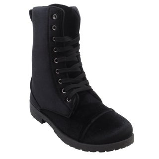 Blue womens Millie Velvet mid calf fashion combat boots 2017 (4 options available)
