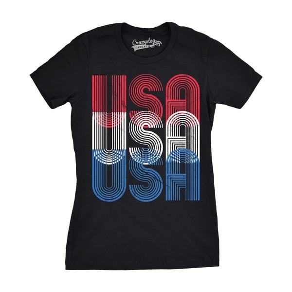 Womens USA USA USA Funny T shirts Red White Blue Retro Designs ...