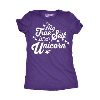 Womens My True Self Is a Unicorn Funny Magical Fairy Tale T shirt for Ladies