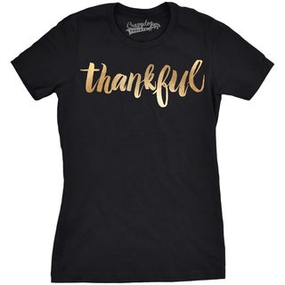 Womens Thankful Script Gold Shimmer T shirt