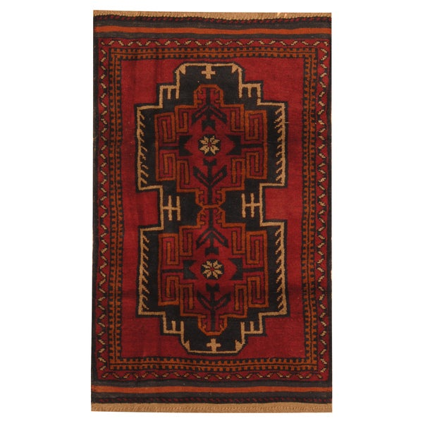 Herat Oriental Hand Tufted Wool Red Black Area Rug: Shop Handmade Herat Oriental Afghan Hand-knotted Tribal