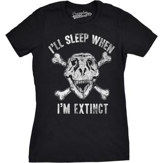 Womens I'll Sleep When I'm Extinct Funny Dinosaurs T-Rex Cross Bones T shirt