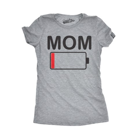 Womens Mom Battery Low T shirt