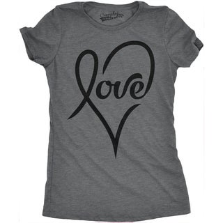 Womens Love Cursive Heart Design Cute Valentines Day Girly T shirt