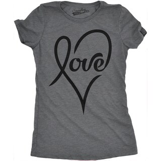 Womens Love Cursive Heart T shirt