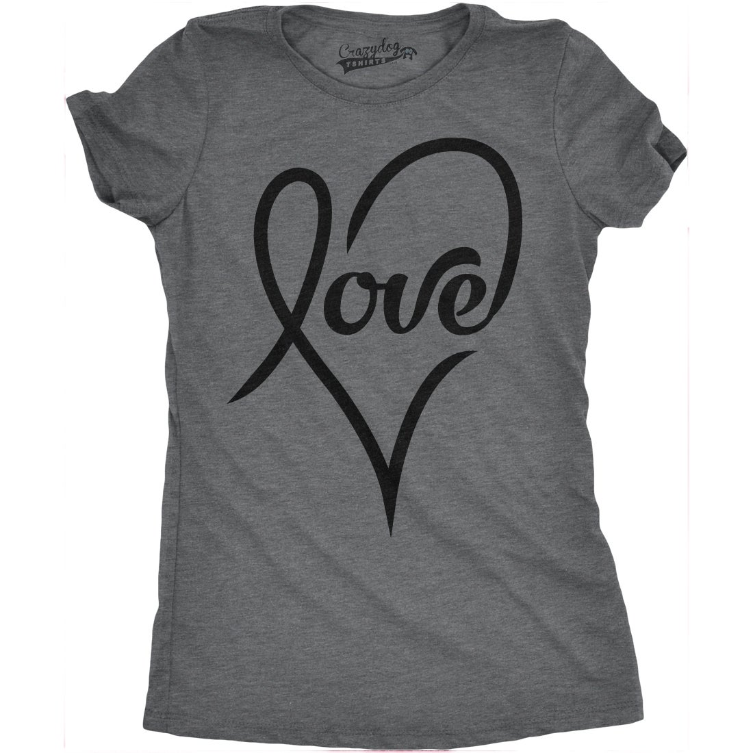 45b6c954365a Shop Womens Love Cursive Heart T shirt - On Sale - Free Shipping On Orders  Over $45 - Overstock - 18655219