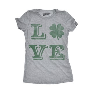 Womens LOVE Lucky Clover Vintage Cute Irish St. Patricks Day T shirt