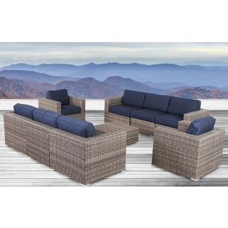 Living Source International Antibes Grey Wicker Sunbrella 9-piece Sofa Club Set