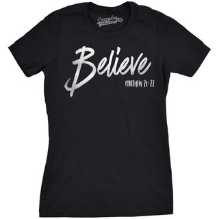 Womens Believe Bible Verse Script Silver Shimmer Application Cool Inspirational T shirt