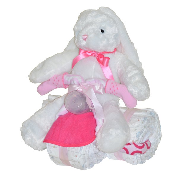 Pink Tricycle Baby Girl Gift Set with Bunny
