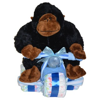 Blue Tricycle Baby Boy Gift Set with Gorilla