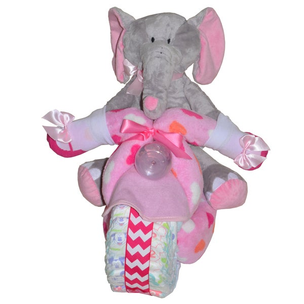 Pink Motorcycle Baby Girl Gift Set w/ Elephant