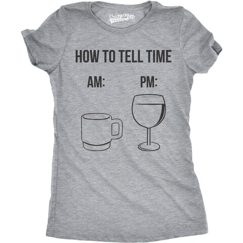 Womens How To Tell Time Coffee and Wine Tshirt