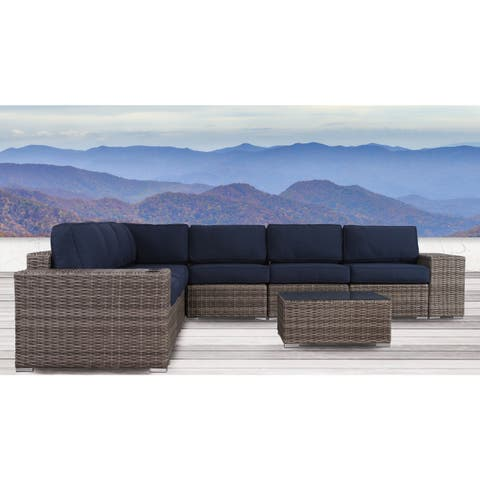 Living Source International Antibes 10-piece Sectional Set with Cup Holders and Sunbrella Cushions